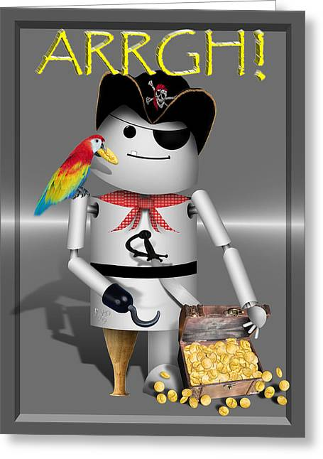 Chest Mixed Media Greeting Cards - Robo-x9 The Pirate Greeting Card by Gravityx9  Designs