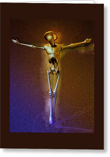 Crucifix Mixed Media Greeting Cards - Holy Robocrist  Greeting Card by Joaquin Abella