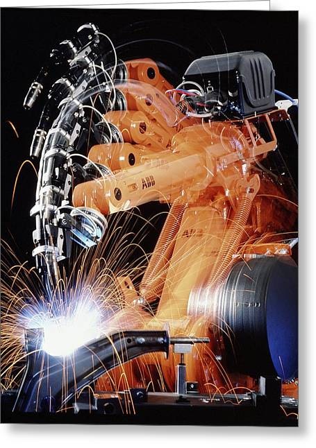 Production Line Greeting Cards - Robot Arm Spot-welding A Car Suspension Unit Greeting Card by David Parker