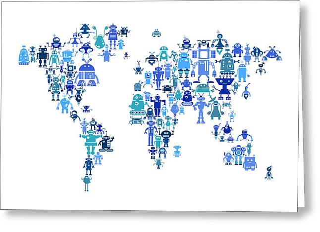 World Map Print Greeting Cards - Robot Map of the World Map Greeting Card by Michael Tompsett