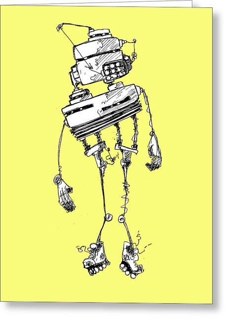 Roller Blades Greeting Cards - Robot Greeting Card by Michael De Alba