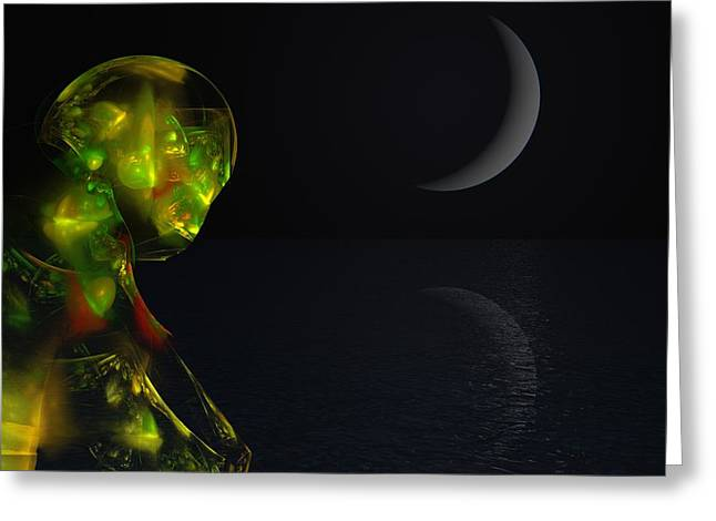 Si-fi Fractal Greeting Cards - Robot Moonlight Serenade Greeting Card by David Lane