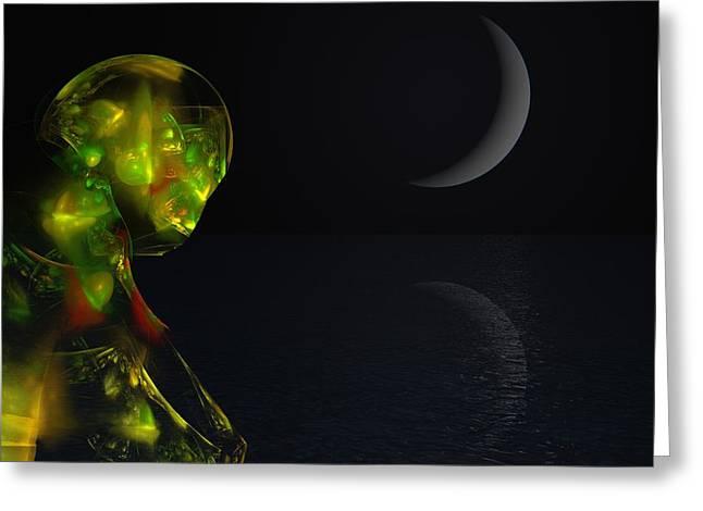 Robot Moonlight Serenade Greeting Card by David Lane