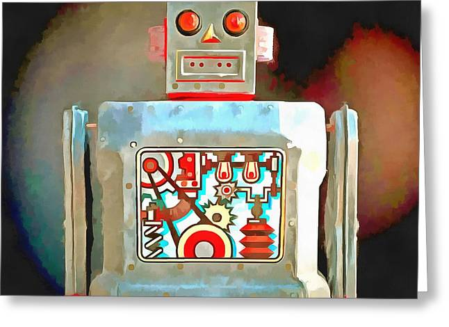 Space Man Greeting Cards - Robot Pop Art R-1 Greeting Card by Edward Fielding