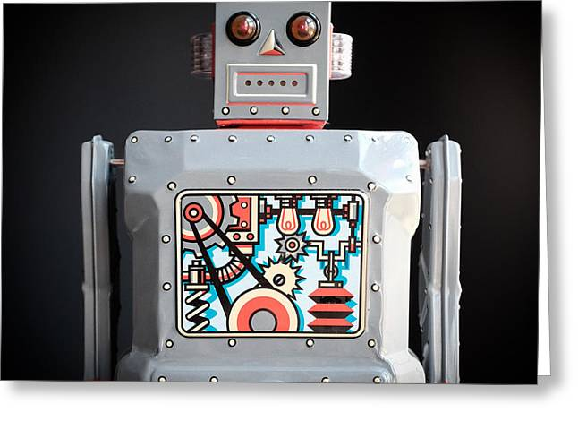 Bed Spread Greeting Cards - Robot R-1 Square Greeting Card by Edward Fielding