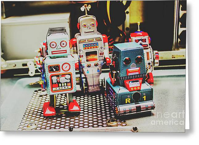 Robots Of Retro Cool Greeting Card by Jorgo Photography - Wall Art Gallery