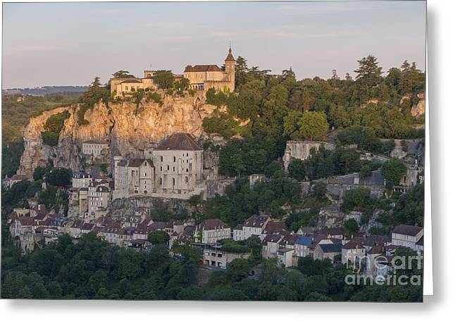 Historic Home Greeting Cards - Rocamadour Sunrise Greeting Card by Brian Jannsen