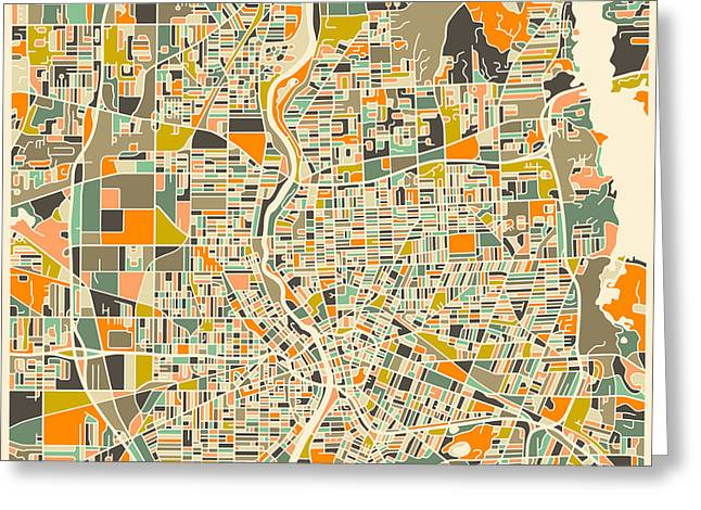 Rochester Map Greeting Card by Jazzberry Blue