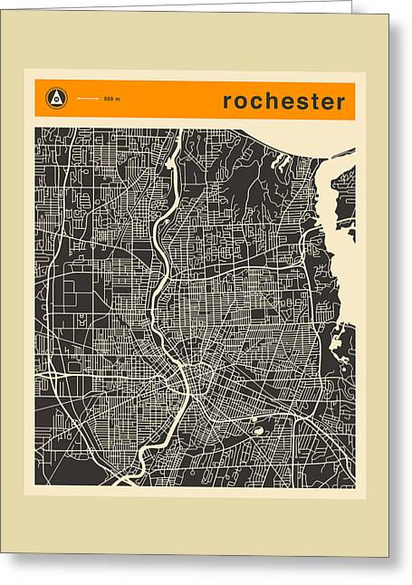 Rochester Greeting Cards - Rochester Ny Map Greeting Card by Jazzberry Blue