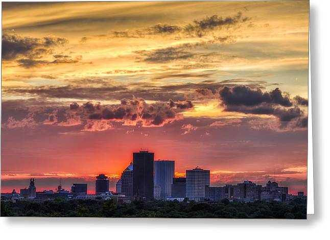 Cobbs Hill Greeting Cards - Rochester Skyline Greeting Card by Mark Papke