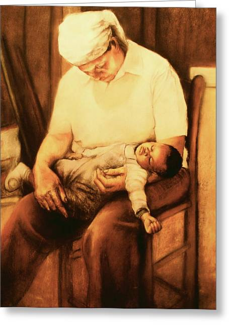 Cloth Pastels Greeting Cards - Rock-a-bye Grandma Greeting Card by Curtis James