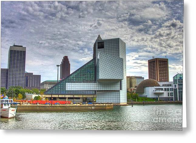 Rock And Roll Hall Of Fame Greeting Card by Robert Pearson
