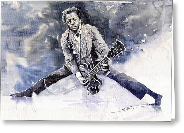 Berry Paintings Greeting Cards - Rock and Roll Music Chuk Berry Greeting Card by Yuriy  Shevchuk