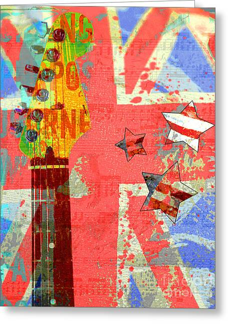 Award Mixed Media Greeting Cards - Rock and Roll Union Jack and American Flags Teen Art Greeting Card by ArtyZen Studios - ArtyZen Home