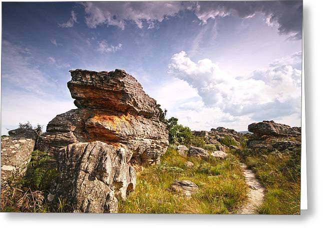 Rock And Sky Landscape Photograph With Footpath At Kaapsehoop Greeting Card by Jan Van der Westhuizen