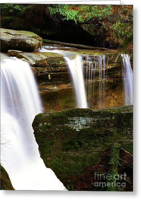 Rock And Waterfall Greeting Card by Thomas R Fletcher