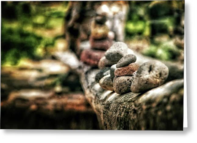Rock Cairn At Buddha Beach Sitting On Tree Branch - Sedona Greeting Card by Jennifer Rondinelli Reilly - Fine Art Photography