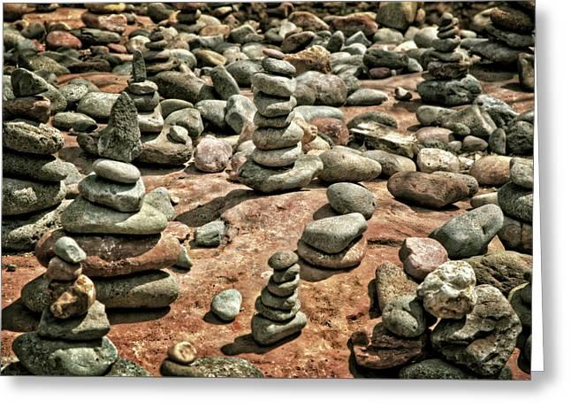 Rock Cairns At Buddha Beach - Sedona Greeting Card by Jennifer Rondinelli Reilly - Fine Art Photography