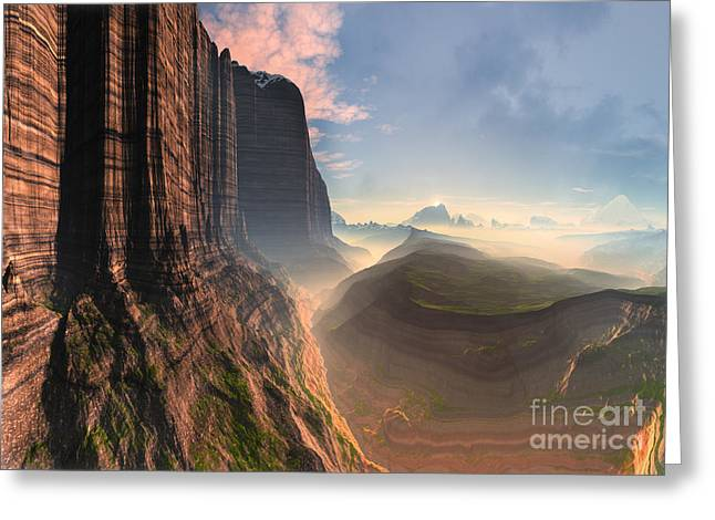 Mountain Valley Mixed Media Greeting Cards - Rock Climbers Dream Greeting Card by Heinz G Mielke