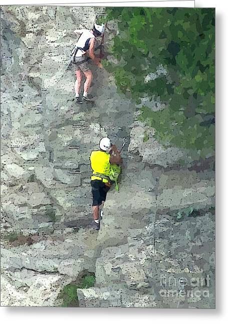 At Work Greeting Cards - Rock Climbers Greeting Card by Loppie and John Malone