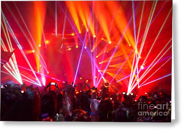 Applaud Photographs Greeting Cards - Rock concert background Greeting Card by Anna Omelchenko