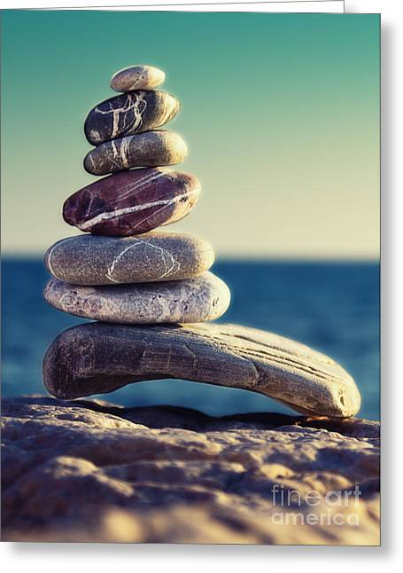 Colored Stones Greeting Cards - Rock Energy Greeting Card by Stylianos Kleanthous