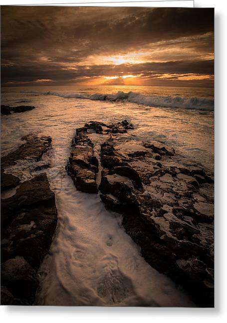 Formation Pyrography Greeting Cards - Rock Formations on the Shore Greeting Card by Rick Strobaugh