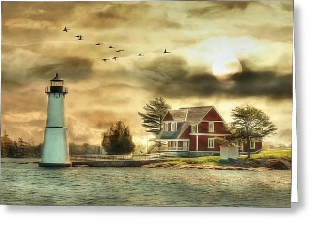 Rock Island Sunrise Greeting Card by Lori Deiter