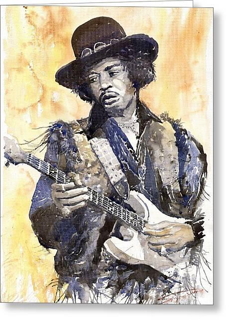 Watercolour Paintings Greeting Cards - Rock Jimi Hendrix 01 Greeting Card by Yuriy  Shevchuk