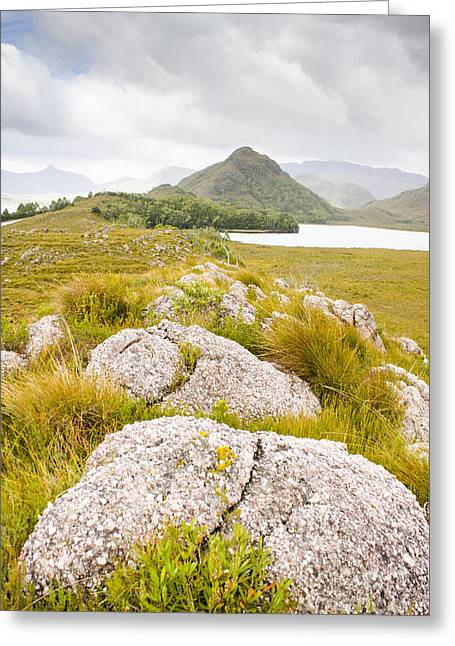Outlook Greeting Cards - Rock landscape off Lake Plimsoll near Queenstown Greeting Card by Ryan Jorgensen