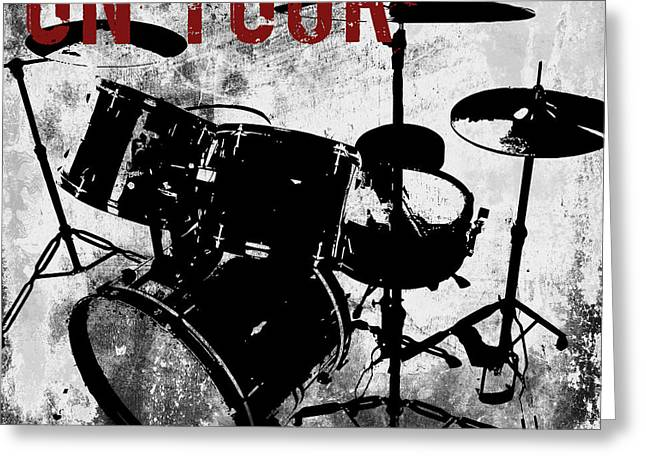 Lead Singer Greeting Cards - Rock N Roll Percussion  Greeting Card by Mindy Sommers