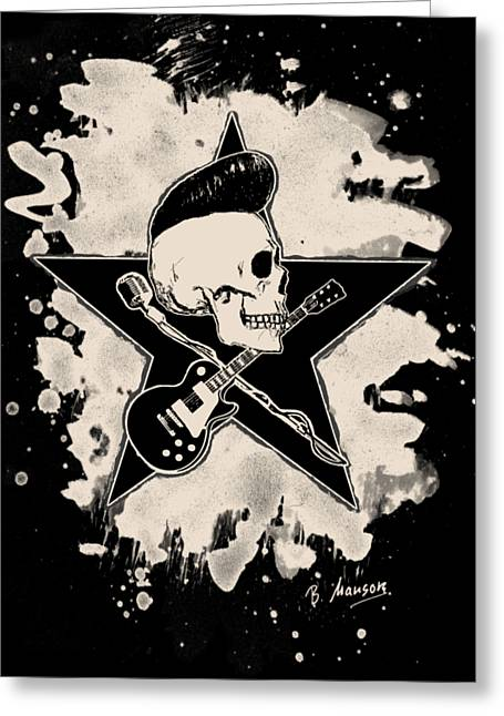 Rock-n-roll Skull - Bleached Greeting Card by Bela Manson