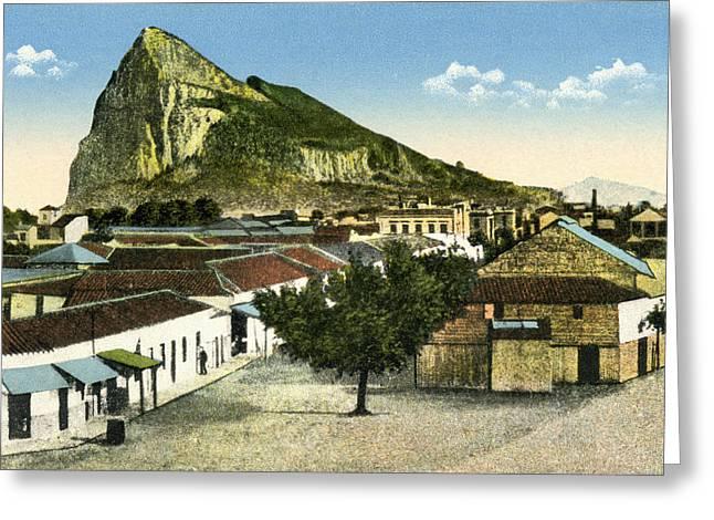 Rocks Drawings Greeting Cards - Rock Of Gibraltar Seen From La Linea De Greeting Card by Ken Welsh