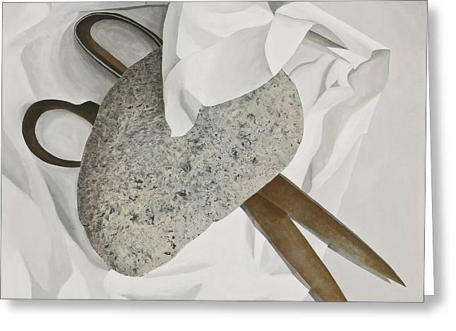 Scissors Paintings Greeting Cards - Rock Paper Scissors Greeting Card by Garry McMichael