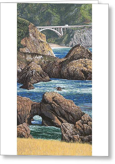 Big Sur Ca Greeting Cards - Rock Point Bridge Big Sur Greeting Card by Andrew Palmer