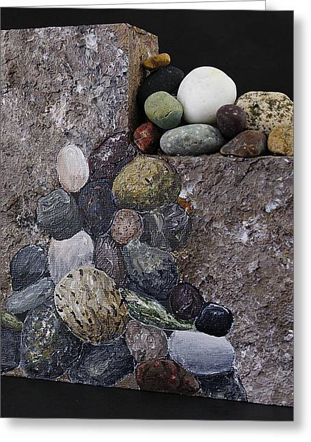 River Sculptures Greeting Cards - Rock Slide Greeting Card by Taunya Bruns