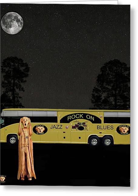 Tour Bus Mixed Media Greeting Cards - Rock Tour Greeting Card by Eric Kempson