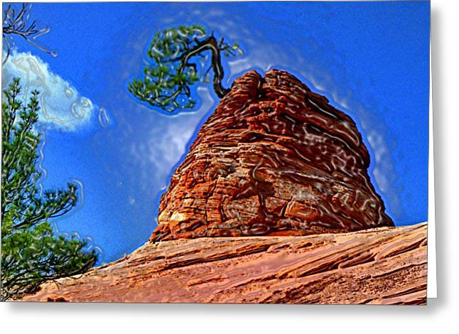 Growing Out Of Rock Greeting Cards - Rock Tree Greeting Card by Martin Massari