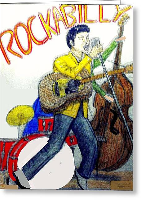 Rockabilly Illustration Greeting Card by Larry E Lamb