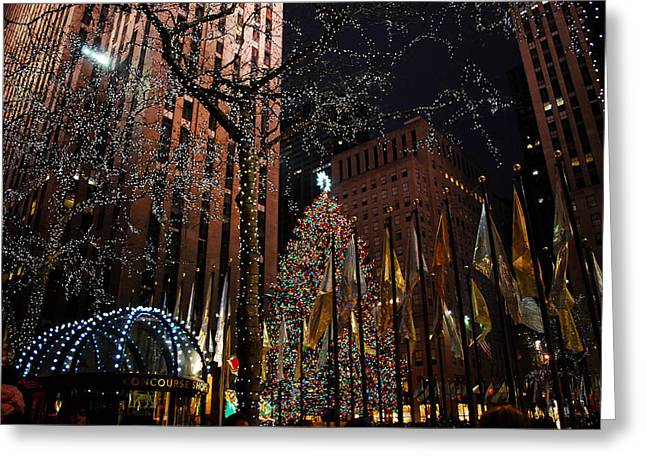 Center City Greeting Cards - Rockafeller Center at Christmas Greeting Card by Amanda Vouglas
