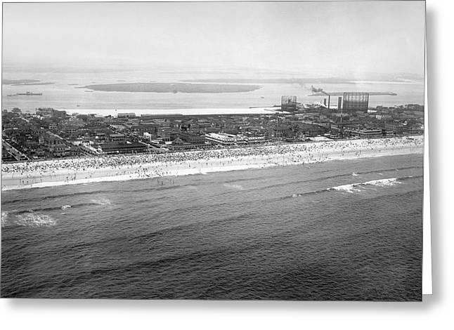 York Beach Greeting Cards - Rockaway Beach in Queens Greeting Card by Underwood Archives