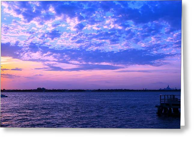 Breezy Greeting Cards - Rockaway Point Dock Sunset Violet Orange Greeting Card by Maureen E Ritter