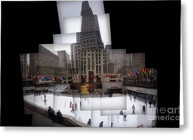 Ice-skating Greeting Cards - Rockefellar Center Panography Greeting Card by P Jeff Smith