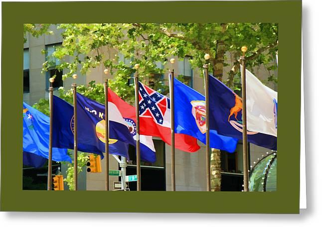 Rockefeller Center Flags Greeting Card by Allen Beatty
