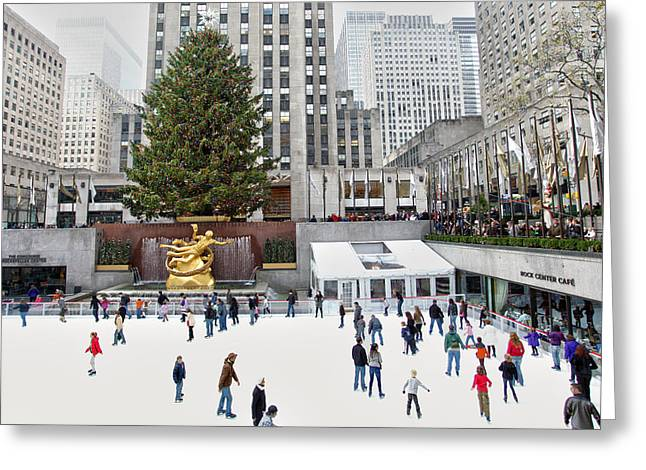 Ice-skating Greeting Cards - Rockefeller Center Skating Rink  Greeting Card by Mitch Cat