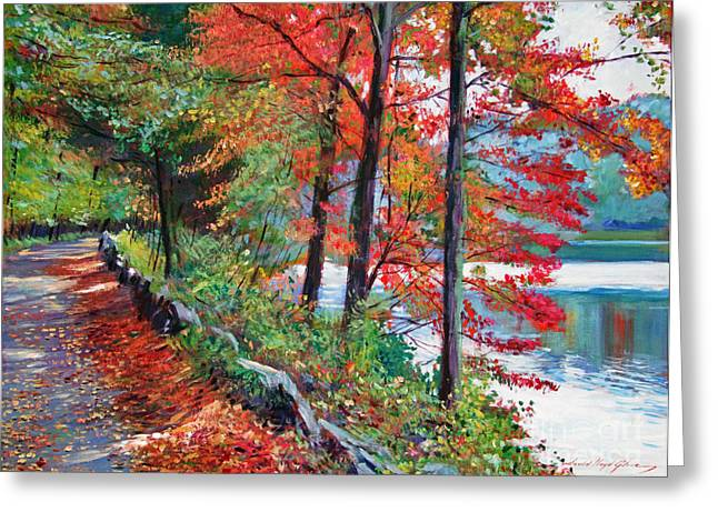 Autumn Landscape Paintings Greeting Cards - Rockefeller Park Greeting Card by David Lloyd Glover