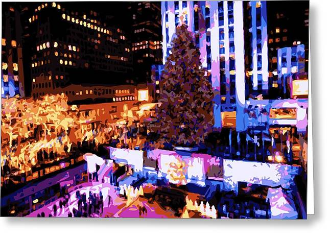 Capital Of The Universe Greeting Cards - Rockefeller Tree Color 16 Greeting Card by Scott Kelley