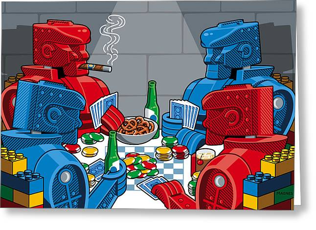 Recently Sold -  - Lego Greeting Cards - Rockem Sockem poker night Greeting Card by Ron Magnes