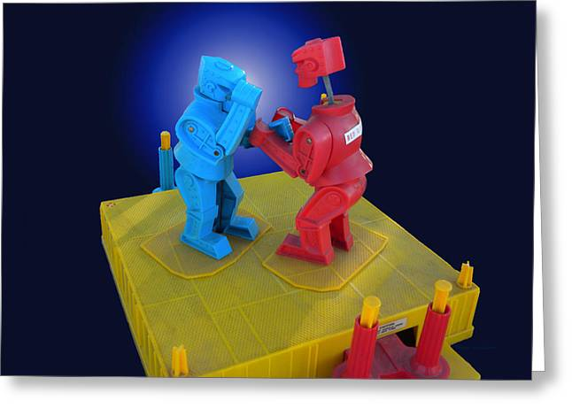 Rockem Sockem Robots Toy Greeting Card by Thomas Woolworth