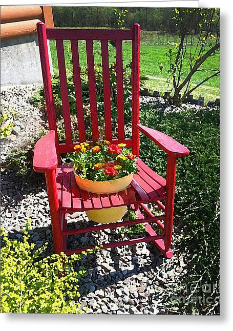 Flower Planter Greeting Cards - Rocker Flowers Greeting Card by Diane E Berry